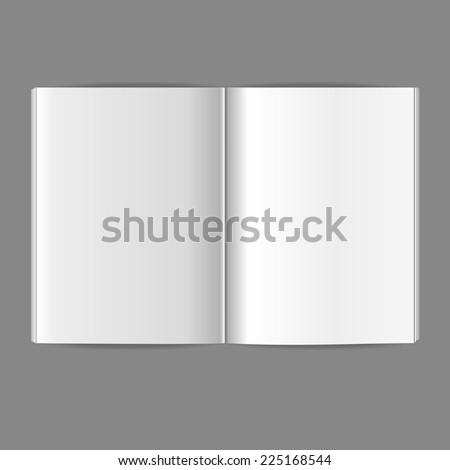 Vector white blank magazine spread. Template for your design - stock vector