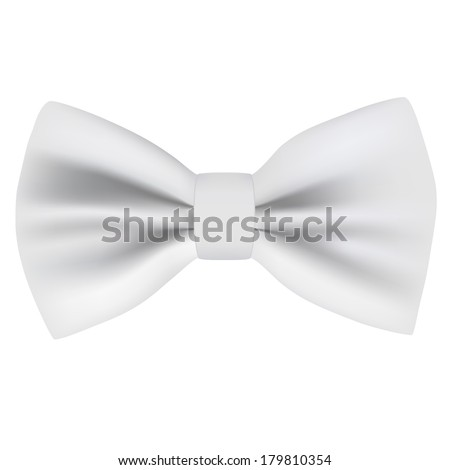 Vector White Bow Tie - isolated on white background. Photo-realistic vector. - stock vector