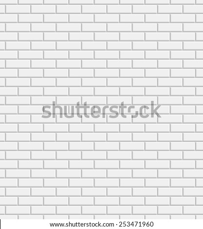 Vector white brick wall texture seamless pattern, abstract background - stock vector