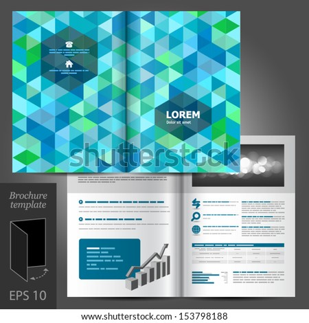 Vector white brochure template design with blue and green geometric elements. EPS 10 - stock vector