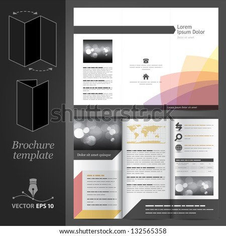 Vector white brochure template design with color elements. EPS 10 - stock vector