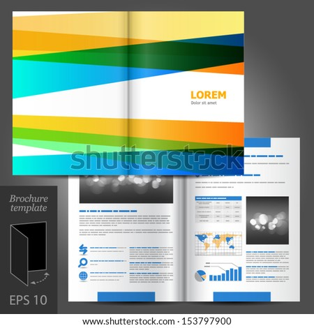 Vector white brochure template design with color stripes and lines. EPS 10 - stock vector