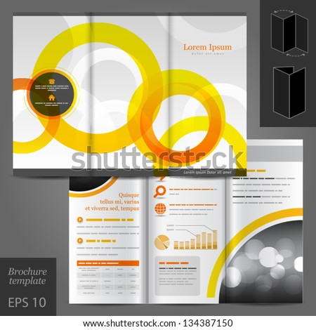Vector white brochure template design with orange and yellow round elements. EPS 10 - stock vector