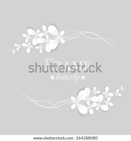 Vector white butterflies on a gray background  - stock vector