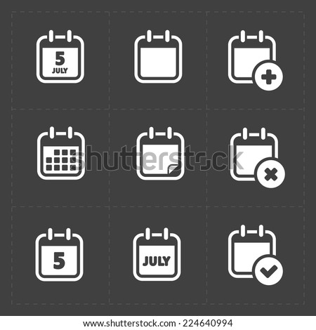 Vector White Calendar Icons - stock vector