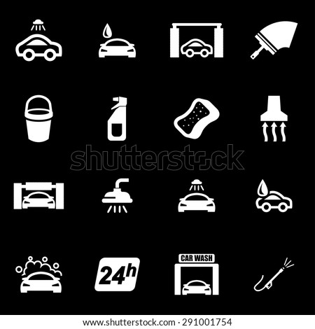 Vector white car wash icon set.