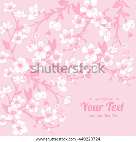 Vector white cherry blossoms  frame corner pattern . Invitation or greeting card design.Vector illustration