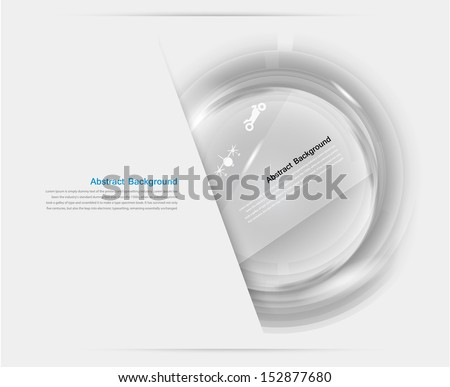 Vector white circle glass. Abstract background