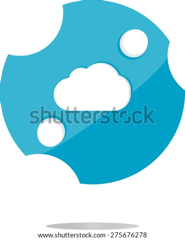 vector white cloud on internet icon isolated on white, vector flat icon - stock vector