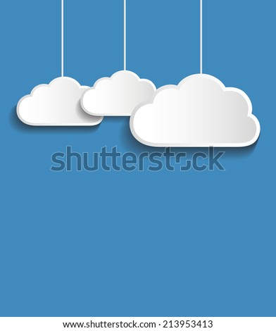 Vector white  clouds with blue background