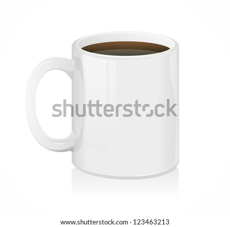 Vector white coffee cup isolated