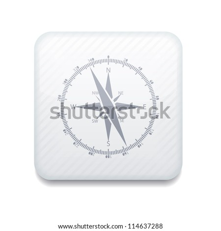 Vector white compass icon. Eps10. Easy to edit - stock vector