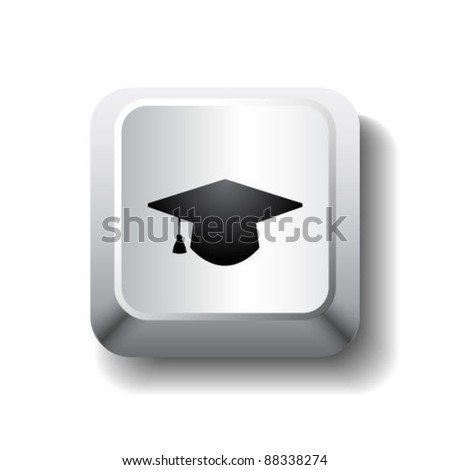 Vector white computer key with graduation cap. Get diploma/education symbol - stock vector