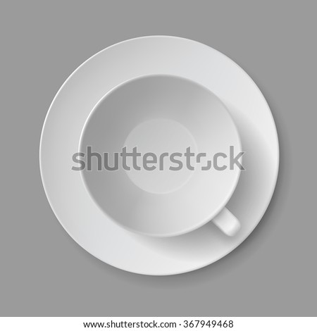 Vector White Cup Mug Top View Isolated Background - stock vector