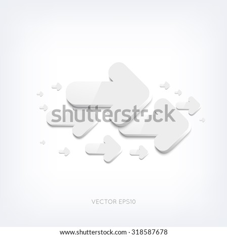 Vector white 3d arrows background
