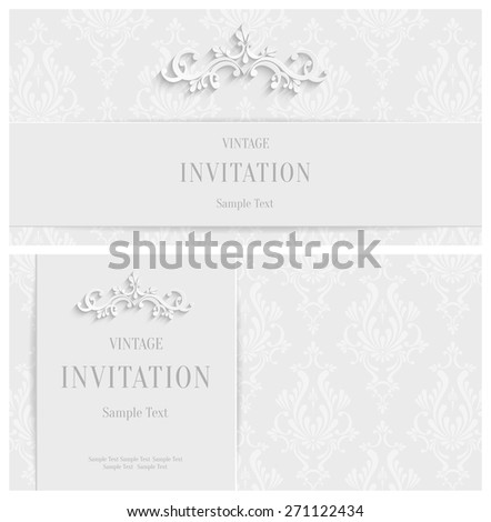 Vector White 3d Floral Horizontal Cards Set, Christmas and Invitation Template  - stock vector