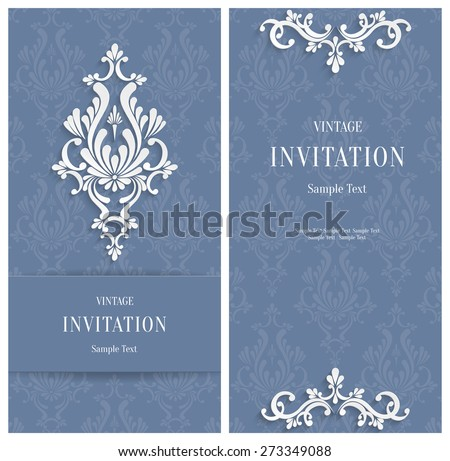 Vector White 3d Floral Vertical Cards Set, Wedding or  Invitation Template  - stock vector