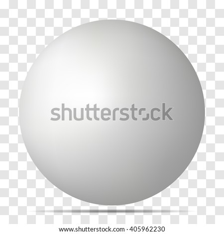 Vector white 3D sphere with realistic shadow and light for logo, design concepts, web, presentation?. 3D Vector illustration on transparent background. Simple Template Ball for your Mock-Up Design - stock vector