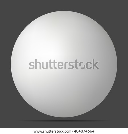Vector white 3D sphere with realistic shadow and light for logo design concepts, web, presentations and prints. 3D Vector illustration on black background. Simple Template Ball for your Mock-Up Design - stock vector