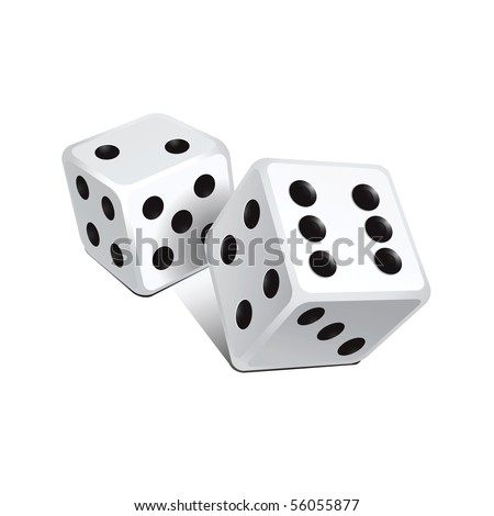 Vector white dice - stock vector