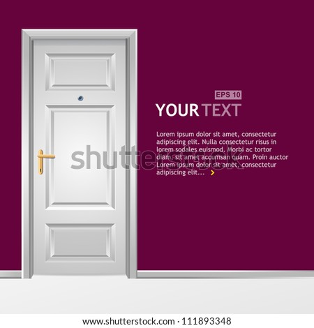 Vector white door in the wall for text - stock vector