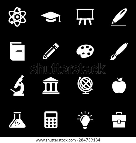 Vector white education icon set.