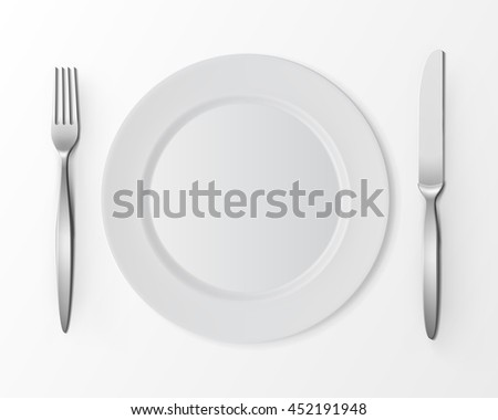 Vector White Empty Flat Round Plate with Fork and Knife Top View Isolated on White Background. Table Setting