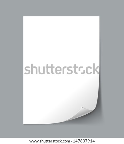 Vector White Empty paper sheet with curl - stock vector