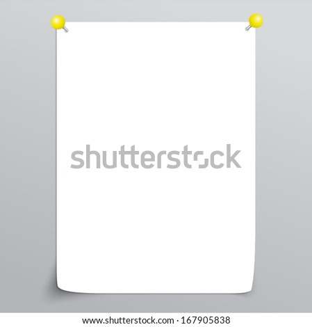 Vector White Empty paper sheet with curl and with yellow pins