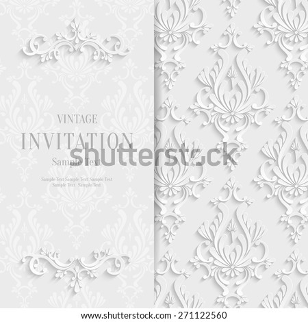 Vector White Floral 3d Christmas and Invitation Background Template - stock vector