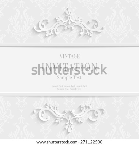 Vector White Floral 3d Christmas and Invitation Cards Background - stock vector
