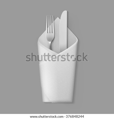 Vector White Folded Envelope Napkin with Silver Fork and Knife Top View Isolated on Background. Table Setting - stock vector