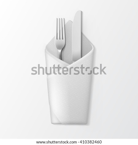 Vector White Folded Envelope Napkin with Silver Fork and Knife Top View Isolated on White Background. Table Setting - stock vector