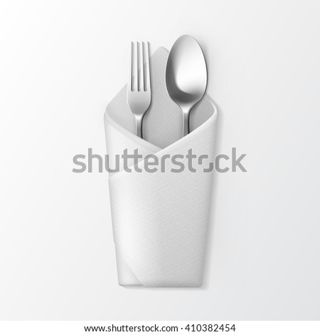 Vector White Folded Envelope Napkin with Silver Fork and Spoon Top View Isolated on White Background. Table Setting - stock vector