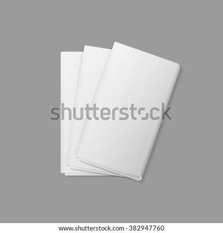 Vector White Folded Rectangular Napkins Top View Isolated on  Background. Table Setting - stock vector