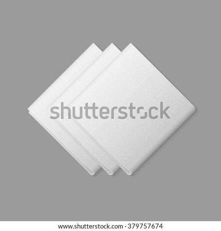 Vector White Folded Square Napkins Top View Isolated on Background. Table Setting - stock vector