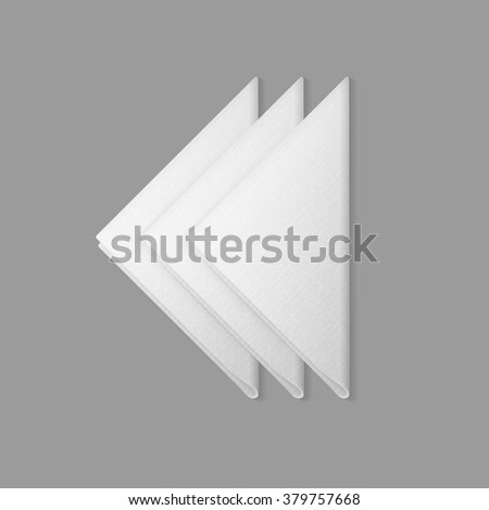 Vector White Folded Trianglular Napkins Top View Isolated on  Background. Table Setting - stock vector