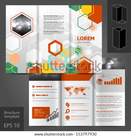 Vector white geometric brochure template design with honeycomb. EPS 10 - stock vector