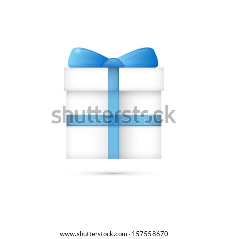 Vector White Gift Box, Present Box With Blue Ribbon  - stock vector