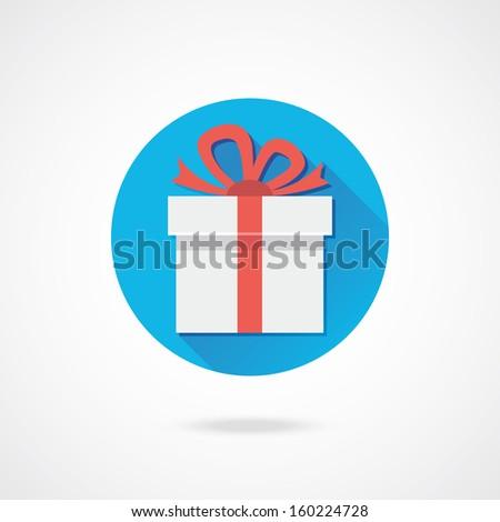 Vector White Gift Icon - stock vector