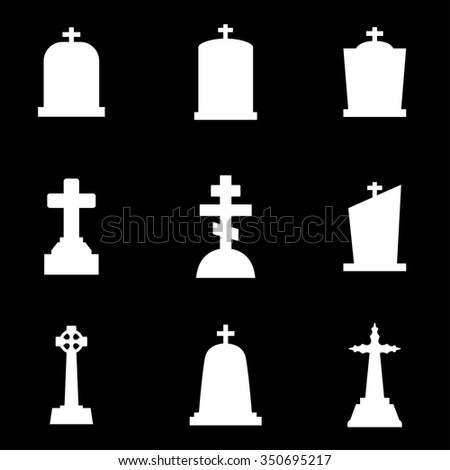 Vector white gravestone icon set.