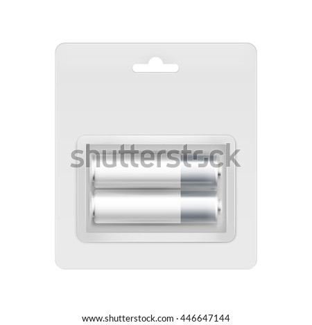 Vector White Gray Silver Glossy Alkaline AA Batteries in Transparent Blister Packed for branding Close up Isolated on White Background - stock vector