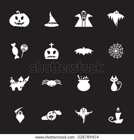 Vector white halloween icon set on black background - stock vector