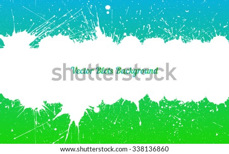 Vector white ink splashes with space for text over blue green. Element for your designs, projects, promotional sales and other your projects. Just add your text - stock vector