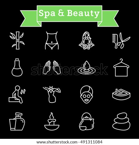 Vector white line Spa & Beauty icons set on black background