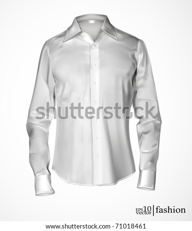 Vector white man's shirt - stock vector