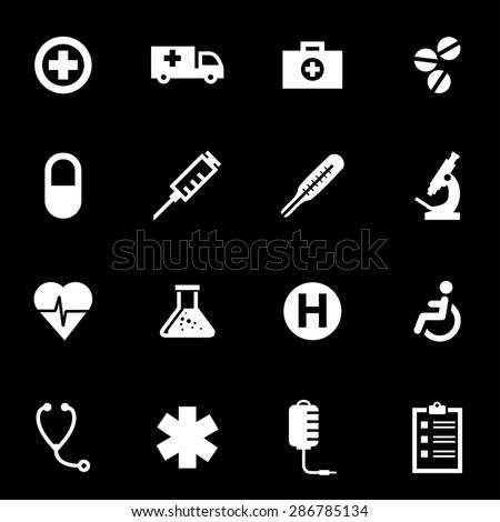 Vector white medical icon set. - stock vector