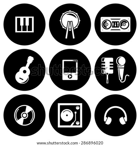Vector white music icons set - stock vector