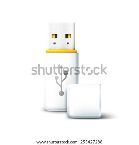 Vector white open USB Flash Drive on white background. Transfer and storage of data, information - stock vector