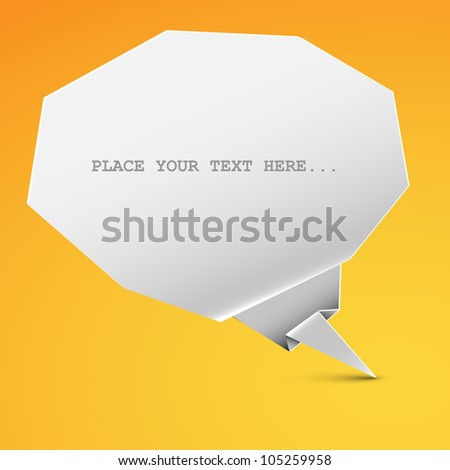 Vector white origami paper Comic Cloud /  bubble on yellow background - stock vector